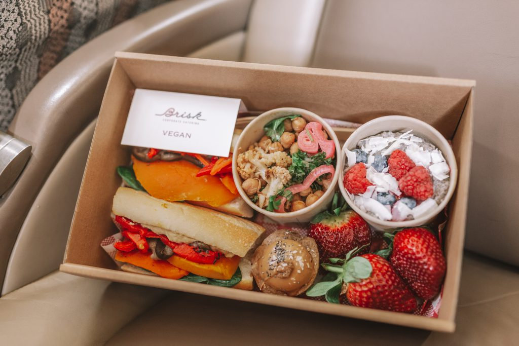 Gourmet private jet catering packs.