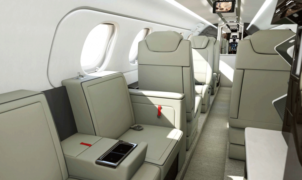 Embraer Phenom 300E private jet cabin.