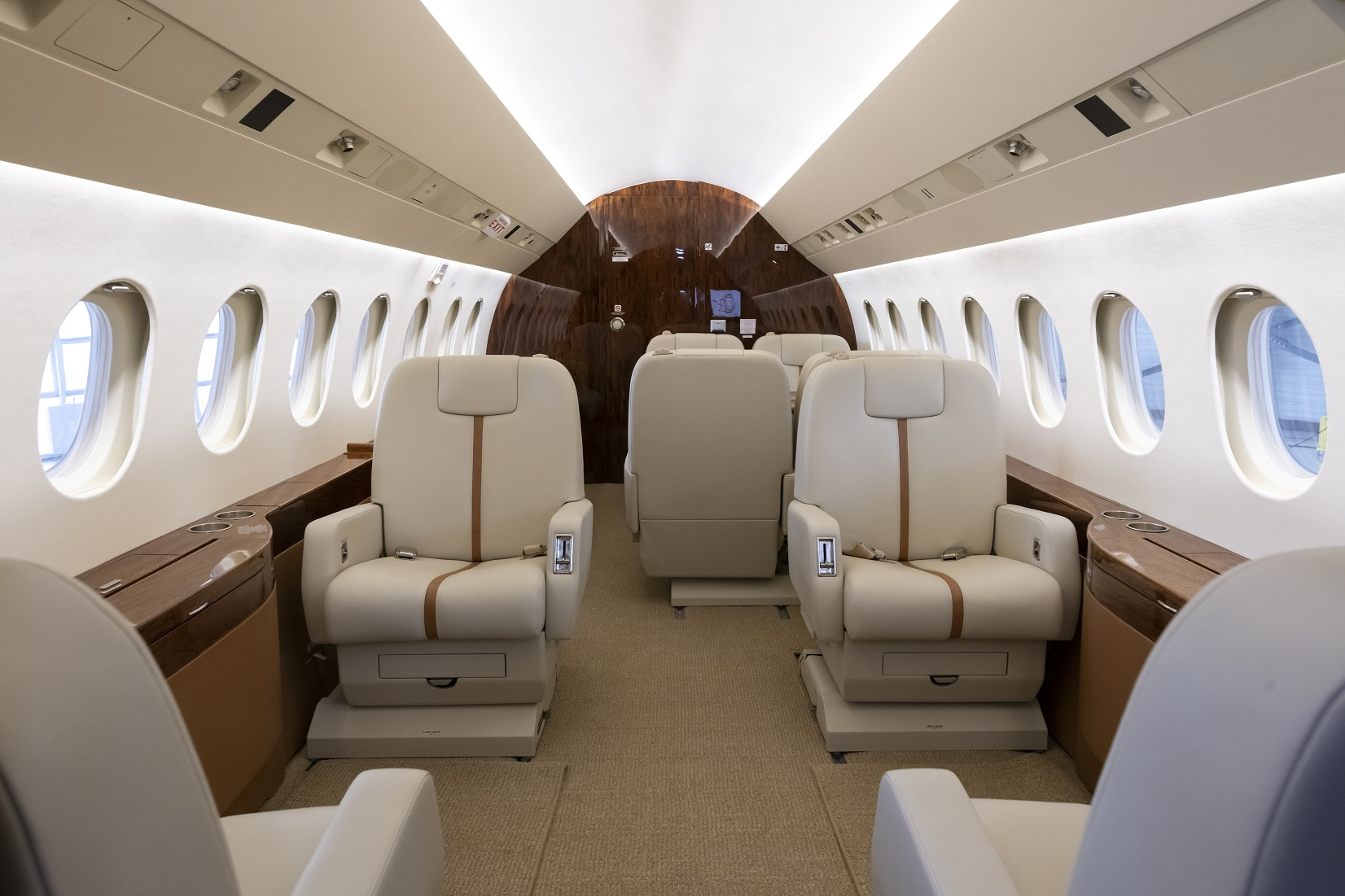 Falcon private jet cabin